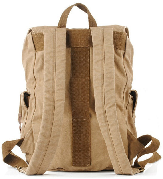 Serbags light-brown military travel backpack - back view