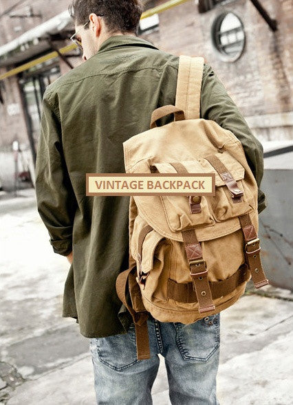 Stylish man wearing light-brown military travel backpack 2