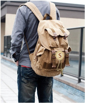 Serbags light-brown military travel backpack