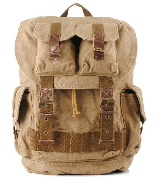 Military Style Canvas School Travel Backpack with Many Pockets