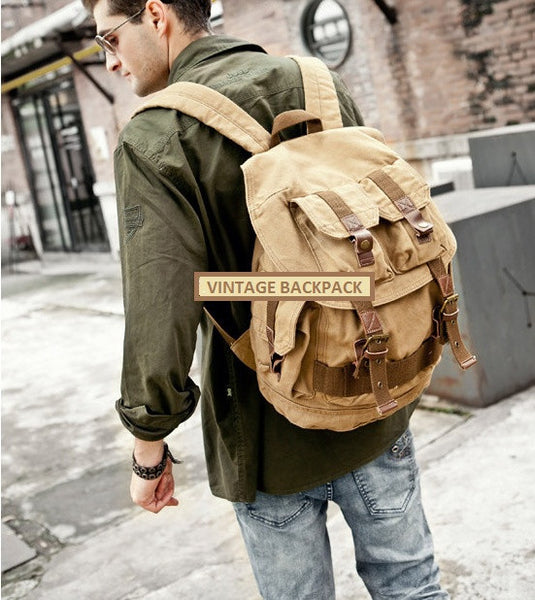 Young man wearing the Serbags light-brown military travel backpack