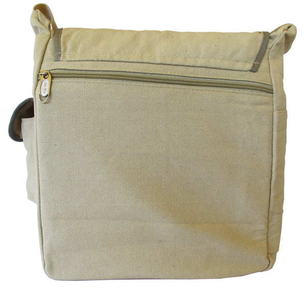 Decal Beige Canvas Messenger Bag - Serbags  - 4