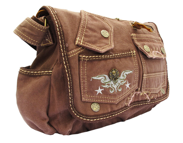 Brown Laptop Cross Body Canvas Messenger Bag - Serbags  - 2