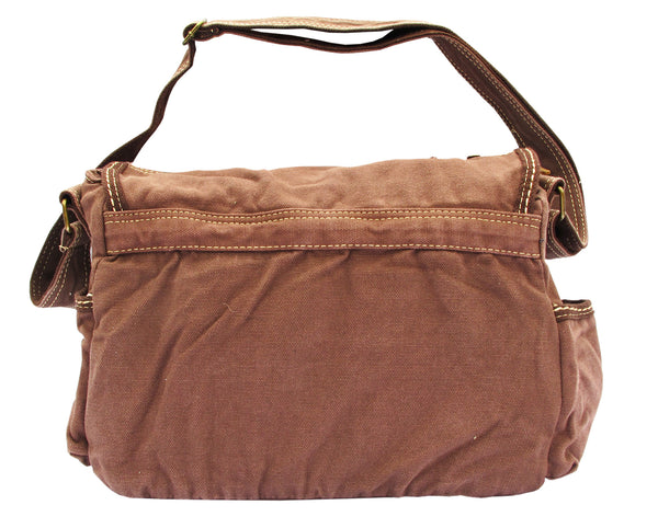 Brown Laptop Cross Body Canvas Messenger Bag - Serbags  - 4