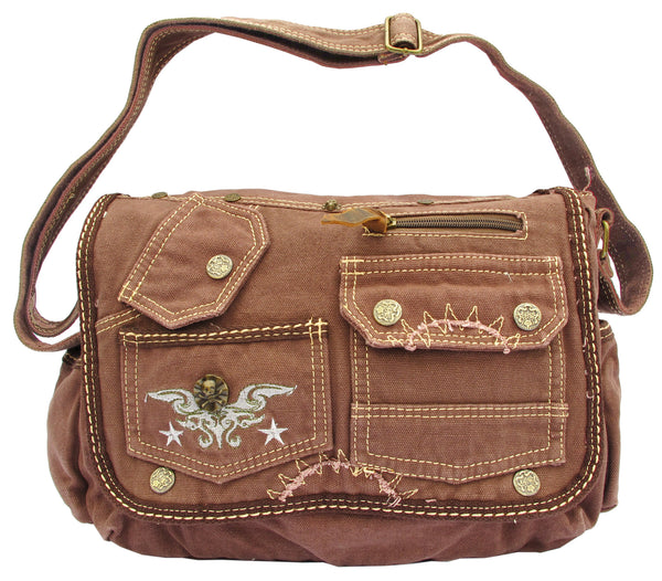 Brown Laptop Cross Body Canvas Messenger Bag - Serbags  - 1