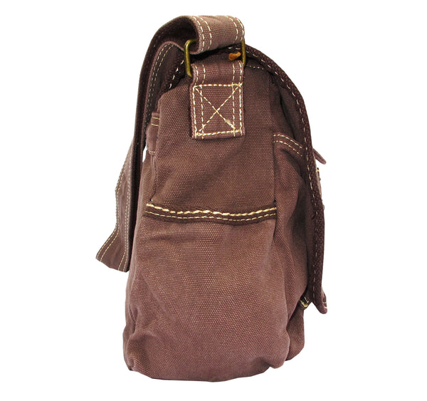 Brown Laptop Cross Body Canvas Messenger Bag - Serbags  - 3