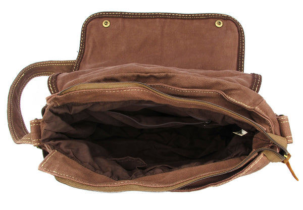 Brown Laptop Cross Body Canvas Messenger Bag - Serbags  - 5