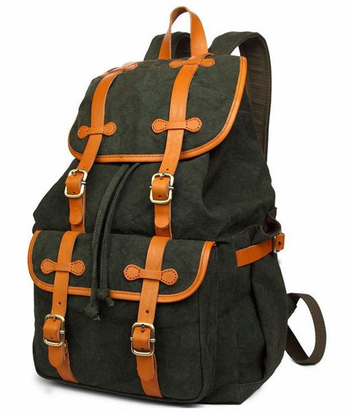 Forest Green Casual Book Bag with Drawstrings