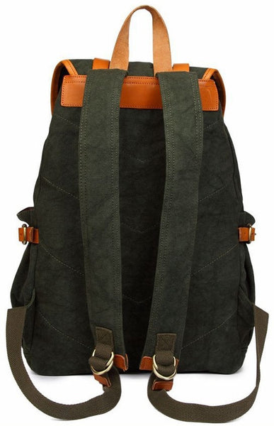 back view - forest green casual backpack by Serbags