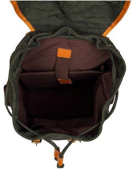 interior compartments on the forest green casual backpack by Serbags