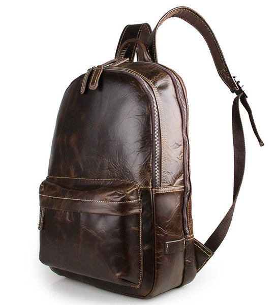 Genuine Leather Laptop School Backpack by Serbags - side view