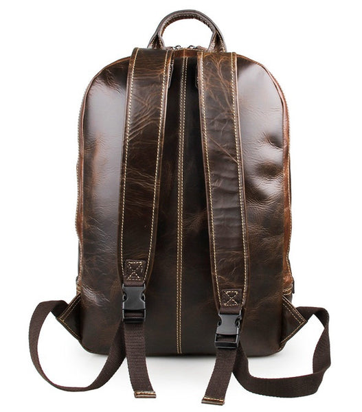 Genuine Leather Laptop School Backpack by Serbags - back view
