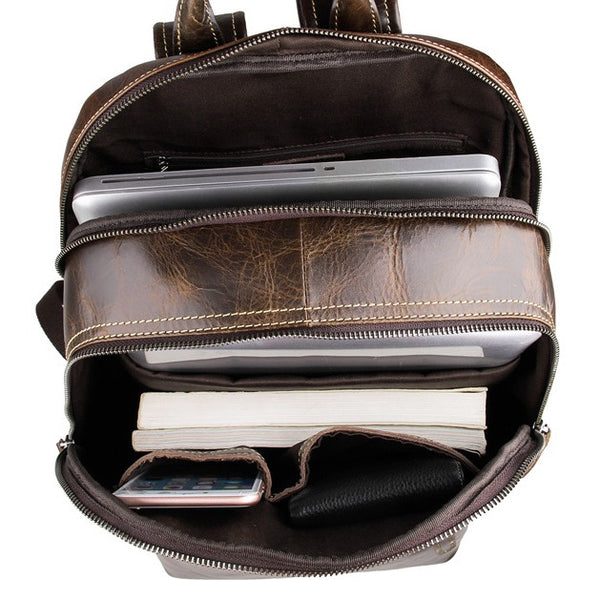 Interior pockets & lining for the Genuine Leather Laptop School Backpack