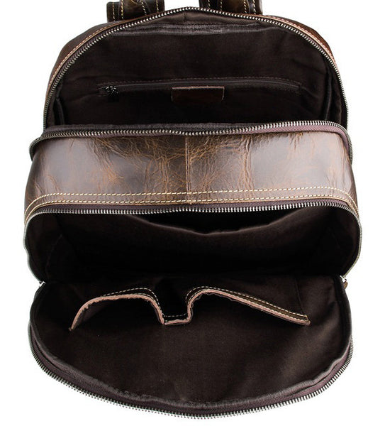 Unisex Rustic Professional Genuine Leather Backpack | Serbags - interior pockets detail