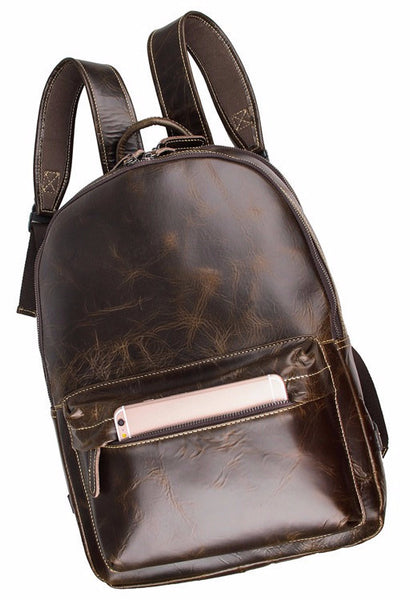 dark brown genuine leather backpack by Serbags