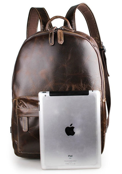 Unisex Rustic Professional Genuine Leather Backpack | Serbags - iPad for scale