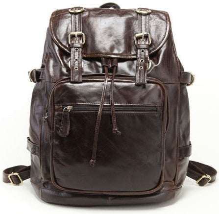 Genuine Leather Casual Travel Backpack by Serbags