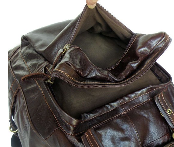 Interior Compartments & lining - Genuine Leather Casual Travel Backpack