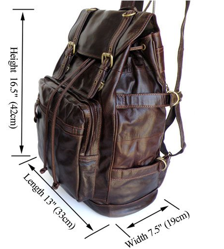 Size chart - Vintage Italian Leather Backpack Casual Genuine Soft Leather - Serbags - 2