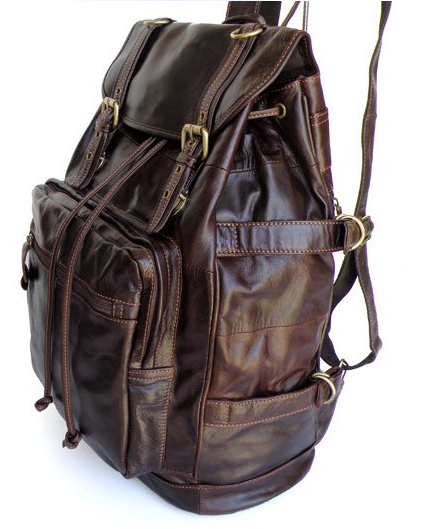 Side view of the Genuine Leather Casual Travel Backpack