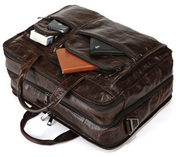 Modern Mens Large Leather Briefcase for Business & Travel with Laptop Compartment