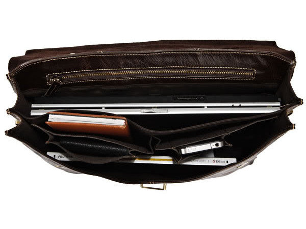 Selvaggio Executive Lawyer Grain Leather Briefcase - 15