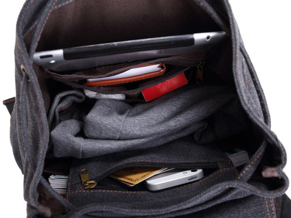 Interior compartments for the gray casual canvas backpack with laptop compartment