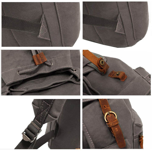 Details & finishes on the gray canvas backpack
