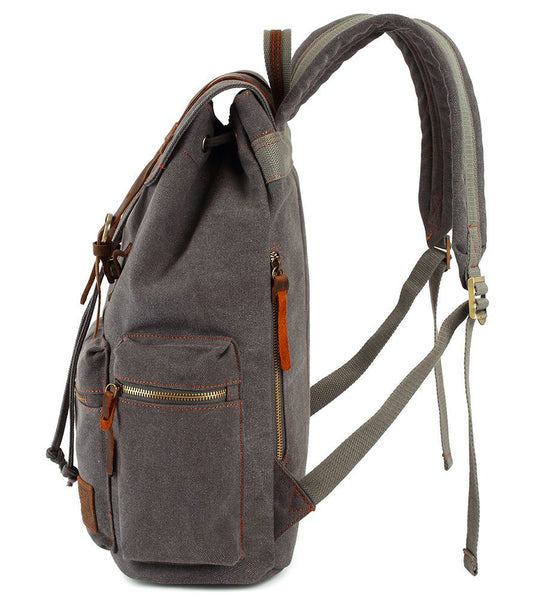 Side view of the Serbags gray canvas backpack