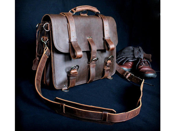 Selvaggio Handmade Rugged Leather Briefcase & Backpack Heavy Duty - Serbags  - 16