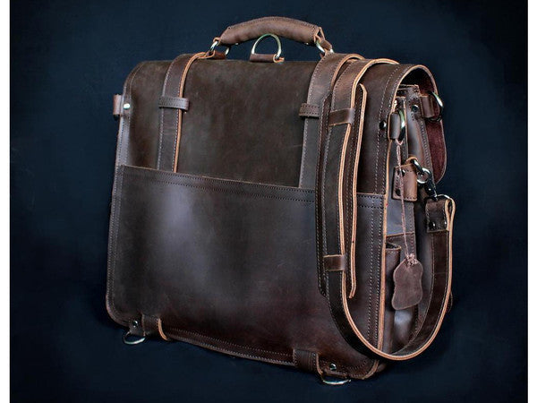 Selvaggio Handmade Rugged Leather Briefcase & Backpack Heavy Duty - Serbags  - 19
