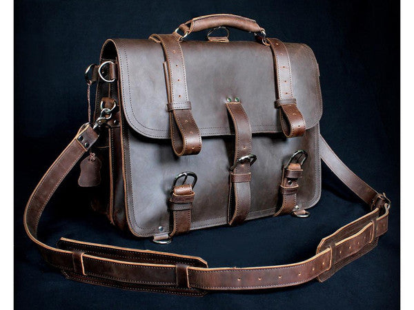 ... Selvaggio Handmade Rugged Leather Briefcase   Backpack Heavy Duty -  Serbags - 17 ... 595b99ca61f6c