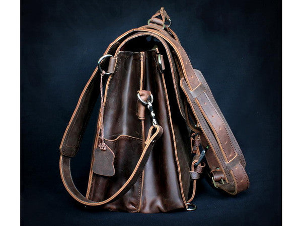 Selvaggio Handmade Rugged Leather Briefcase & Backpack Heavy Duty - Serbags  - 18