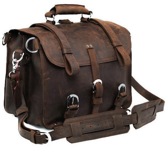 Selvaggio Handmade Rugged Leather Briefcase & Heavy Duty Backpack