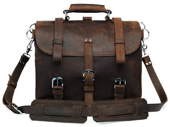 dae0ac594337 Solid Heavy Duty & Dark Brown Selvaggio Handmade Leather Briefcase with  Metal Buckles