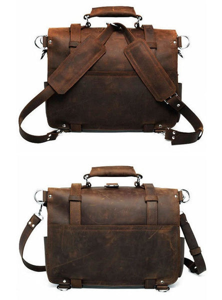 genuine leather Selvaggio briefcase & backpack details