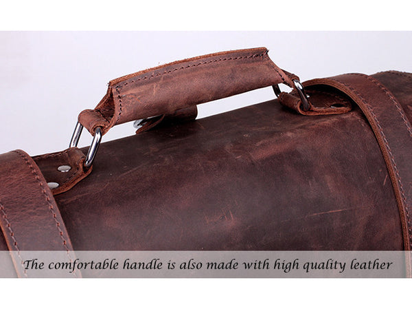 Handle detail on the Selvaggio handmade leather briefcase & backpack