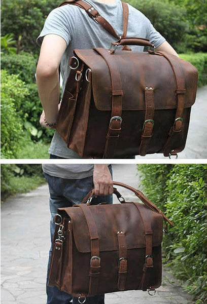 Man sporting huge Selvaggio handmade leather briefcase & backpack