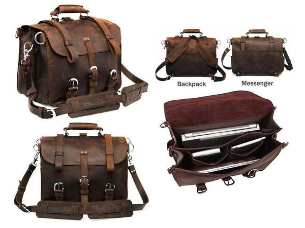 genuine leather Selvaggio briefcase & backpack