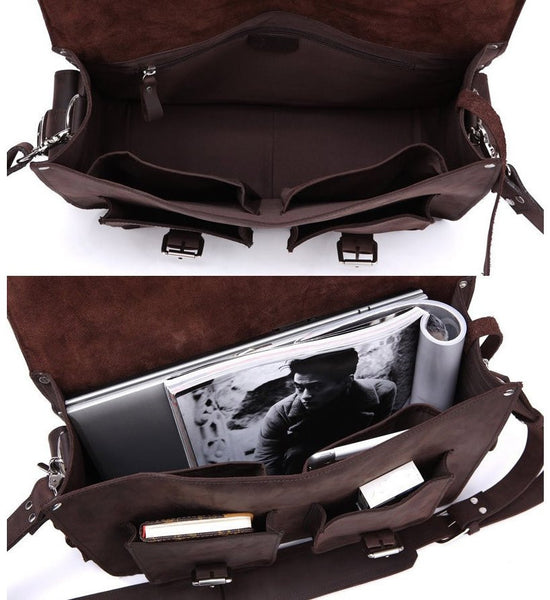 interior compartments of the Selvaggio handcrafted genuine leather bag by Serbags
