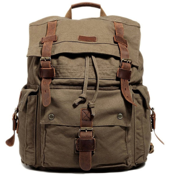 4e13d2ec84df Large Olive Surplus Hiking Canvas Backpack with Leather Straps  sturdy  brown outdoor hiking canvas by SerBags ...
