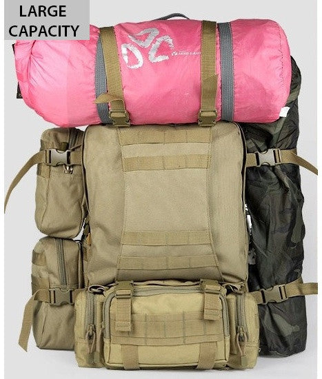 detachable pouches military hiking backpack with travel gear