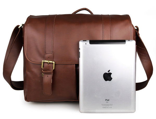 Solid Brown Leather Messenger Bag for Photographers, Travelers & Busy Professionals