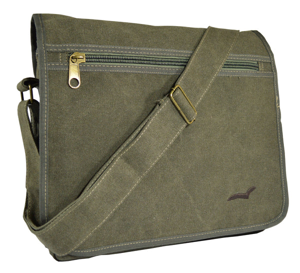Army Green Canvas Heavyweight Messenger Bag - Serbags  - 2