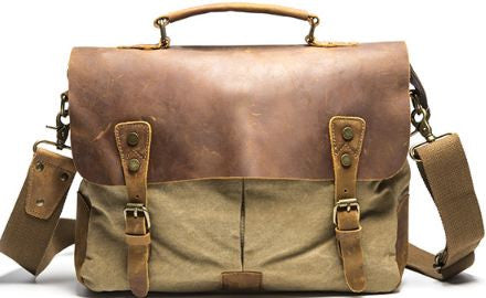 Vintage Style Canvas Leather Flap-over Messenger Bag with Brass Accents 1125b3535