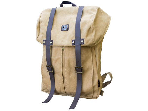 Khaki Vintage Backpack with Large Front Pocket - Padded Laptop Sleeve - Serbags  - 3