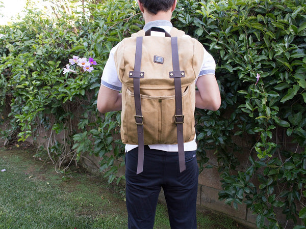 Khaki Vintage Backpack with Large Front Pocket - Padded Laptop Sleeve - Serbags  - 4