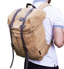 Khaki Vintage Backpack with Large Front Pocket - Padded Laptop Sleeve - Serbags  - 1