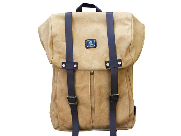Khaki Vintage Backpack with Large Front Pocket - Padded Laptop Sleeve - Serbags  - 2