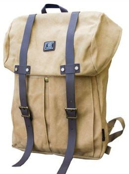 Khaki Vintage Backpack with Large Front Pocket - Padded Laptop Sleeve